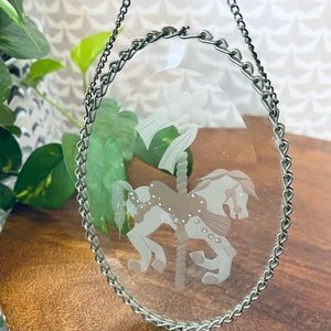 Carousel Horse Etched Glass Suncatcher Window Hang
